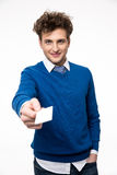 Businessman showing blank business card Stock Image