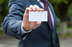 Businessman showing blank business card Royalty Free Stock Image