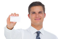 Businessman showing a blank business card Royalty Free Stock Photography