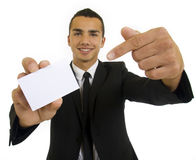 Businessman is showing blank card Royalty Free Stock Photo