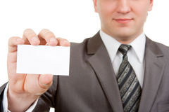 Businessman showing blank card Royalty Free Stock Images
