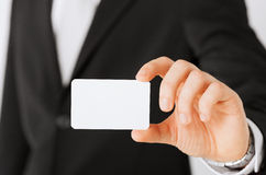 Businessman showing blank card Stock Images