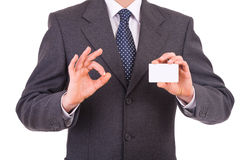 Businessman showing blank card. Stock Images