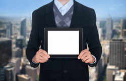 Businessman showing blank digital tablet Royalty Free Stock Images