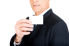 Businessman showing a blank identity name card Royalty Free Stock Images