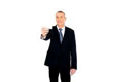 Businessman showing a blank identity name card Stock Images