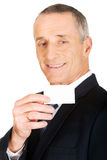 Businessman showing a blank identity name card Royalty Free Stock Photo