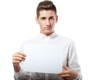Businessman showing blank signboard Stock Photos