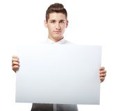 Businessman showing blank signboard Stock Photo