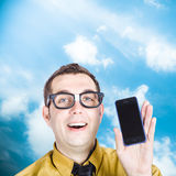 Businessman showing blank smartphone Royalty Free Stock Photography