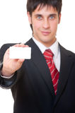 Businessman showing business card Royalty Free Stock Images