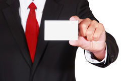 Businessman showing business card Royalty Free Stock Image