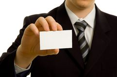 Businessman showing a business card Stock Photos