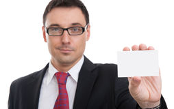 Businessman showing business card Stock Photos