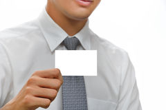Businessman showing  card. Stock Photos
