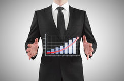 Businessman showing  chart Stock Photography