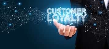 Businessman showing Customer Loyalty. Customer Loyalty concept.  stock photography
