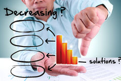 Businessman showing decrease bar chart Royalty Free Stock Image