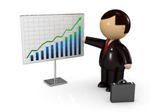 Businessman showing diagram of success Stock Images
