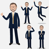 Businessman is showing in the different emotions.Ilustration EPS Royalty Free Stock Photos