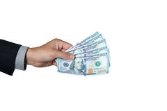 The businessman showing dollar on hand for pay or donation. Stock Photography