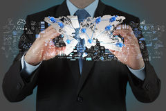 Businessman showing the earth 3d Royalty Free Stock Image