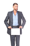 Businessman showing an empty board to write Royalty Free Stock Photography