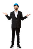 Businessman showing empty copyspace in hands. Royalty Free Stock Photos