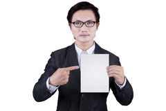 Businessman showing empty placard 2 Stock Photography