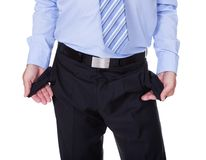 Businessman Showing Empty Pockets Stock Image