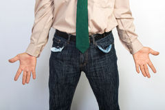 Businessman showing empty pockets concept for bankruptcy Stock Photo