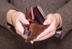 Businessman showing empty wallet. Finance and economy. Stock Photography