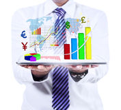 Businessman showing financial report Stock Images