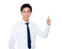 Businessman showing finger pointing up Royalty Free Stock Photos
