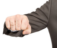 Businessman showing fist. Isolated on white background, closeup Stock Image