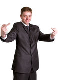 Businessman showing  gesture. With white background Stock Image