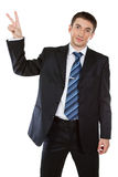 Businessman showing  gesture. With white background Royalty Free Stock Images