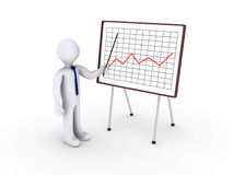 Businessman showing graph. 3d businessman showing a graph Stock Photography