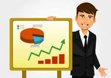 Businessman showing graph. Businessman holding white board and showing graphs Stock Image