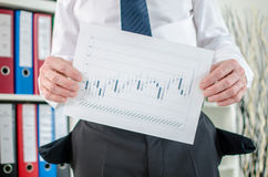 Businessman showing graphs with poor results Stock Image