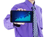 Businessman showing growth graph Stock Photography