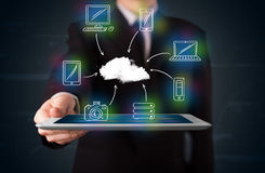 Businessman showing hand drawn cloud computing Stock Image