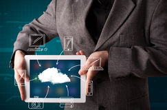 Businessman showing hand drawn cloud computing Stock Images