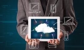 Businessman showing hand drawn cloud computing Royalty Free Stock Photo