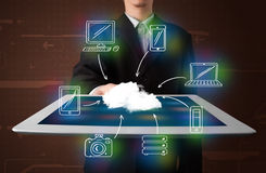 Businessman showing hand drawn cloud computing Stock Photo