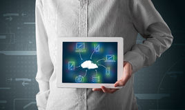 Businessman showing hand drawn cloud computing Royalty Free Stock Photography