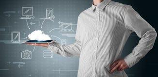 Businessman showing hand drawn cloud computing Stock Photos