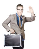 Businessman Showing Hand Holding Briefcase Royalty Free Stock Image