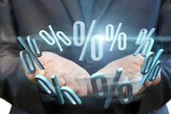 Businessman showing the hands of interest. The percent sale deposits Stock Photo