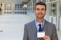 Businessman showing his credentials with space for copy.  royalty free stock photos